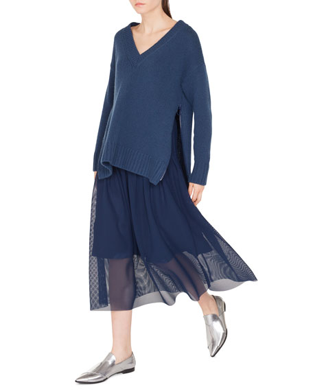 Akris punto Oversize Wool/Cashmere Sweater with Side Zip