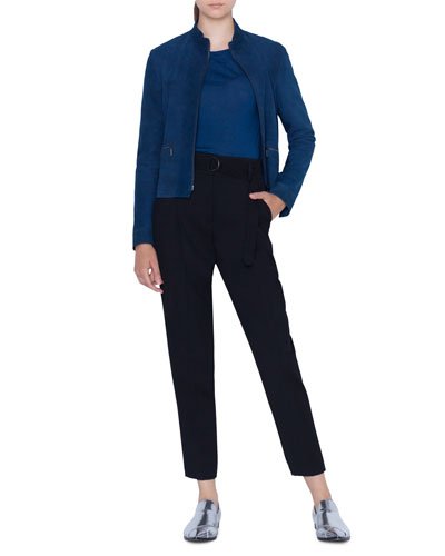 Zip-Front Stand-Collar Suede Jacket and Matching Items