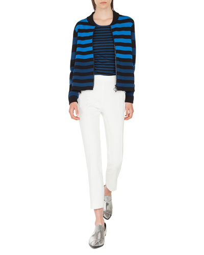 Striped Milano-Knit Bomber Cardigan and Matching Items
