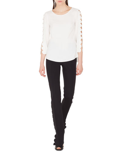 Boat-Neck Blouse with Laser-Cut Sleeves and Matching Items