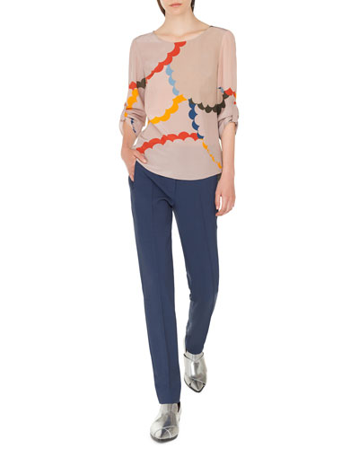 Bracelet-Sleeve Memphis-Nuvola Print Silk Blouse and Matching Items