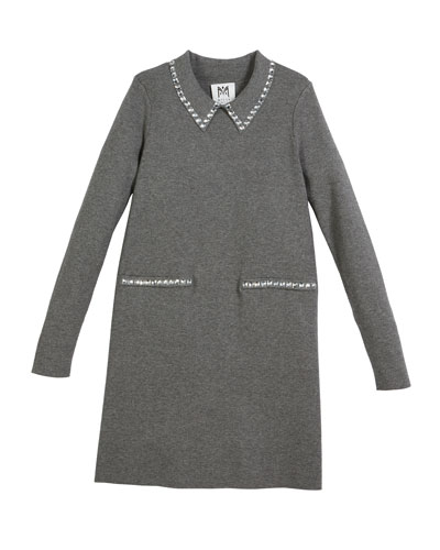 Rhinestone-Trim Long-Sleeve Dress, Size 4-7  and Matching Items