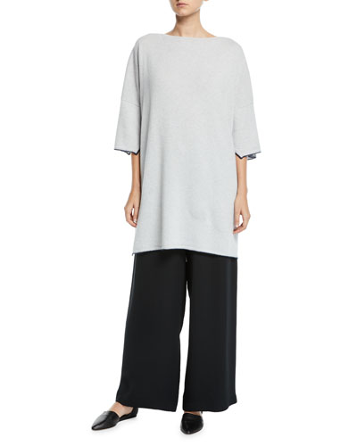3/4-Sleeve Cashmere Draped Top and Matching Items