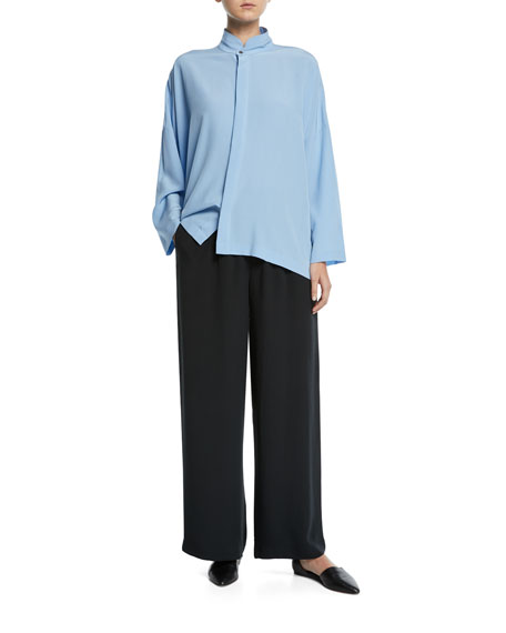 Stand-Collar Button-Front Silk Top