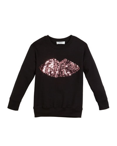 Sweatshirt w/ Moveable Sequin Lips, Size 4-7  and Matching Items