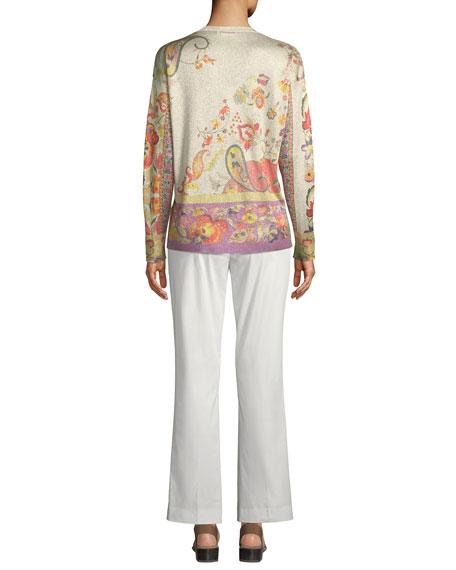 Flare-Sleeve Paisley Cotton Blouse