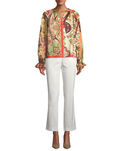 V-Neck Paisley Shimmer-Knit Sweater and Matching Items