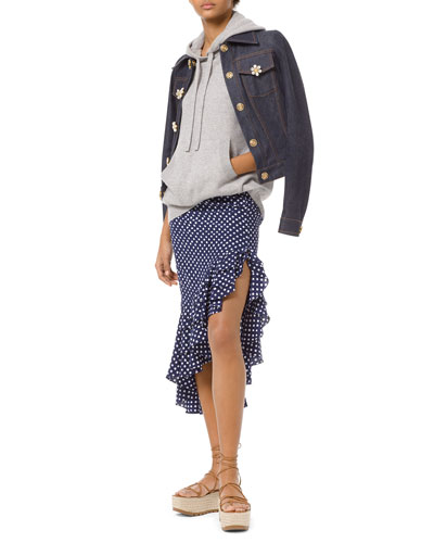 Floral-Gem Button Denim Jacket and Matching Items