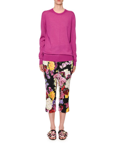Crewneck Long-Sleeve Cashmere-Silk Sweater and Matching Items