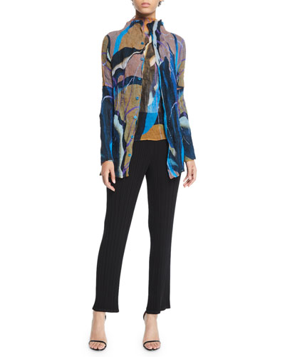 Bloom Pleated Chiffon Twisted Button Front Cardigan and Matching Items