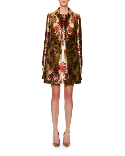 Metallic Floral-Jacquard Button-Front Coat and Matching Items