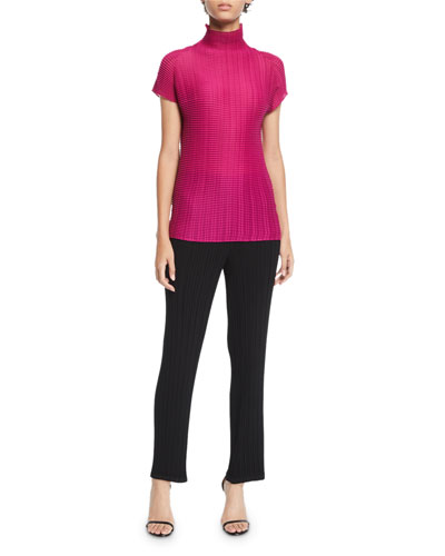 Short-Sleeve Pleated Turtleneck Top  and Matching Items