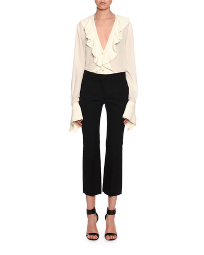 Pinstriped Wool-Silk Kickback Cropped Trousers and Matching Items
