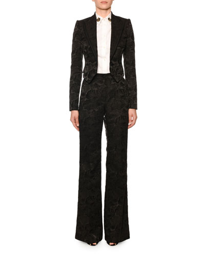 Rose Jacquard Cropped Tux Jacket and Matching Items