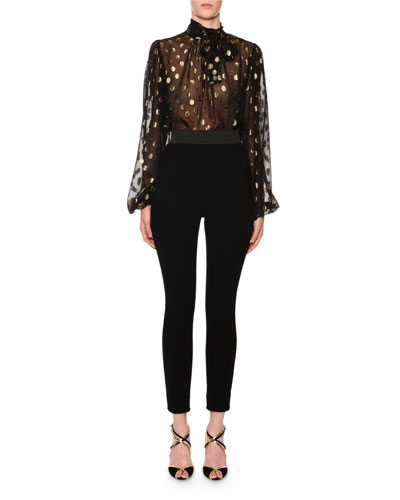 Long-Sleeve Tie-Neck Dotted Fil Coupe Chiffon Blouse and Matching Items  Quick Look. Dolce   Gabbana e60f569107c5f