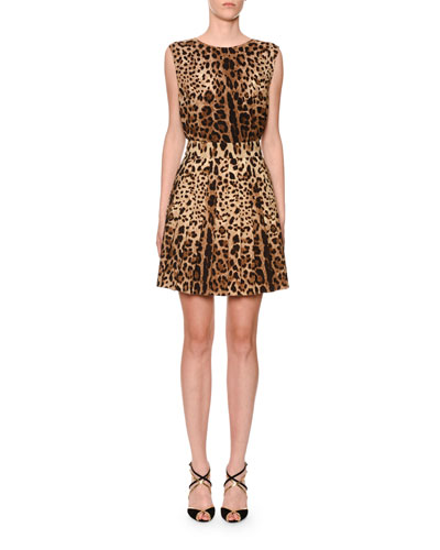 Pleated Leopard-Print Stretch-Wool Skirt and Matching Items