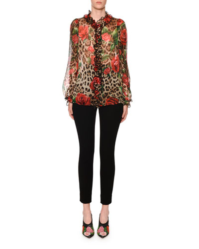 Long Sleeve Leopard Rose Org and Matching Items