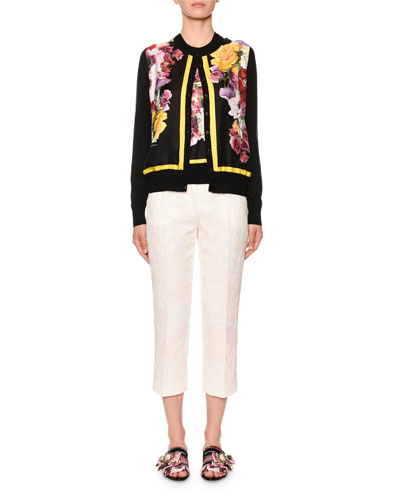 Floral-Print Silk-Front Cashmere Cardigan and Matching Items