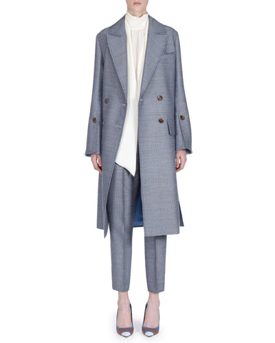 Double-Breasted Wool Coat w/ Removable Mink Collar and Matching Items