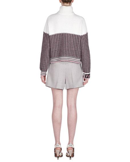 Colorblocked Wool Turtleneck Sweater