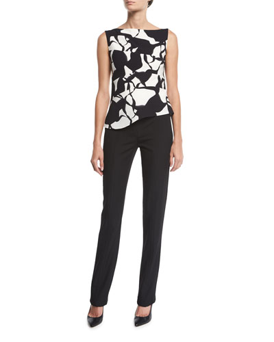 Sleeveless Leaf-Print Square-Neck Top and Matching Items