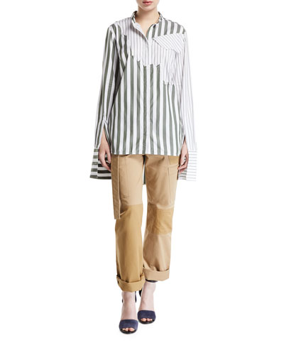 Olive Torn Mixed-Stripe Button-Front Shirt and Matching Items