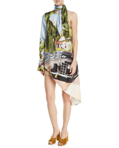 One-Shoulder Miami Postcard Tunic Top and Matching Items
