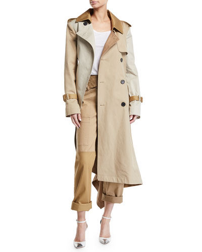 Two-Tone Patchwork Khaki Twisted Trench Coat and Matching Items
