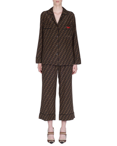 Logo-Grid Button-Front Pajama Shirt and Matching Items
