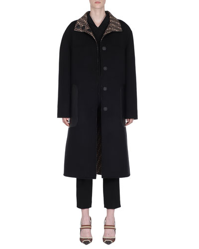 Reversible Long Leather-Pocket Wool Coat and Matching Items