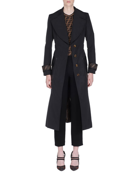 Logo-Cuff Long Belted Long Trench Coat