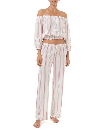 Krissy Striped Cotton Coverup Pants and Matching Items