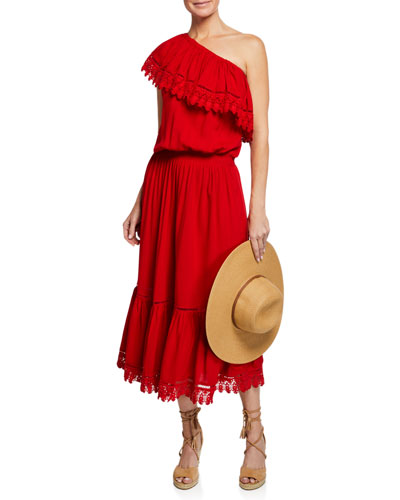 Jo One-Shoulder Lace Coverup Sun Dress and Matching Items