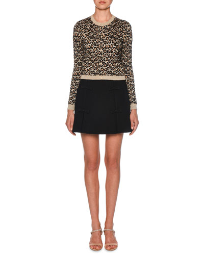 Shimmer-Trimmed Leopard Knit Cardigan and Matching Items