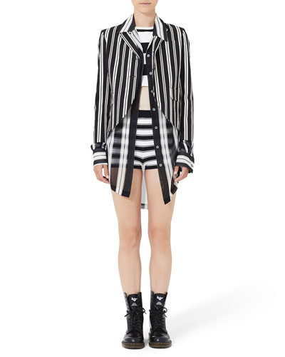 Striped 3/4-Sleeve Boyfriend Jacket and Matching Items