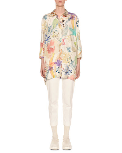 3/4-Sleeve Floral-Print Button Front Poncho and Matching Items