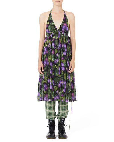 Drs Plum Print Halter and Matching Items