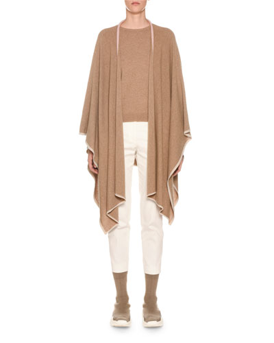 Cashmere Open-Front Poncho Cardigan and Matching Items