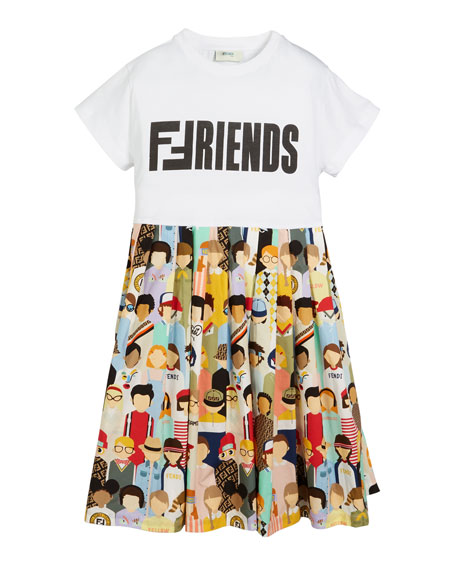 Friends-Print Accordion-Pleated Dress, Size 6-8