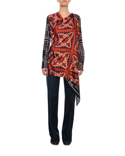 Bandana-Print Silk Handkerchief Asymmetric Blouse and Matching Items
