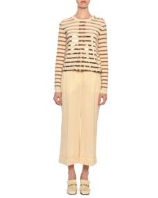 Cropped Wool Gabardine Wide Leg Pants by Valentino