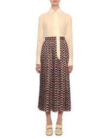 Logo Scale Print Pleated Midi Skirt by Valentino