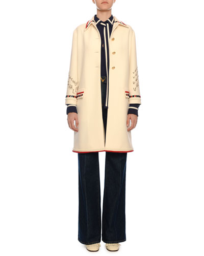 Button-Front Embroidered Crepe Wool Coat  and Matching Items