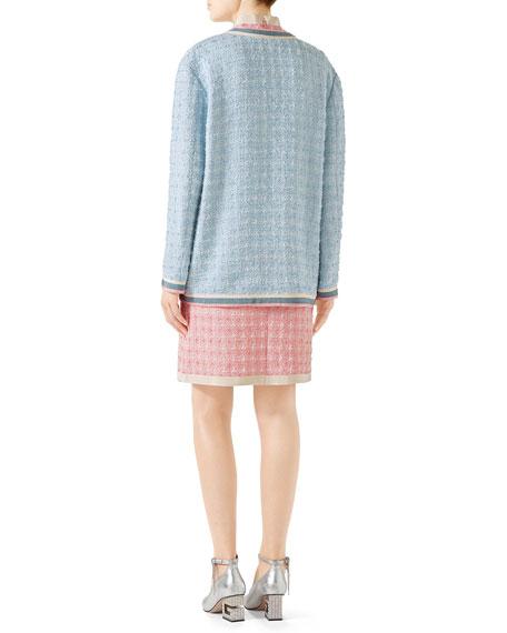 Stripe-Trim Button-Front Tweed Jacket