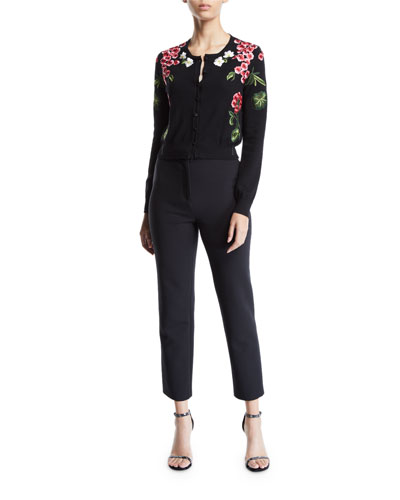 Floral-Embroidered Cardigan and Matching Items