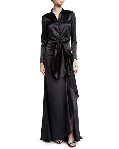 Brill Long Draped-Front Satin Skirt and Matching Items