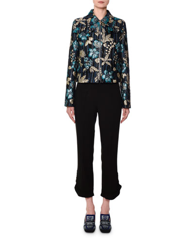 Floral Brocade Zip-Front Shirt Jacket and Matching Items