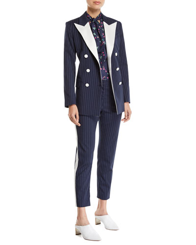 Casablanca Pinstriped Contrast Peak-Lapel Tux Jacket and Matching Items