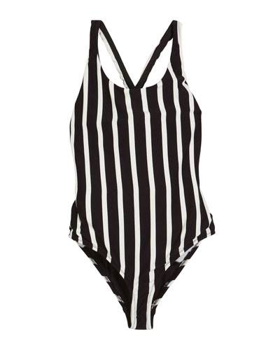 Striped Scoop-Neck One-Piece Swimsuit, Size 4-6  and Matching Items