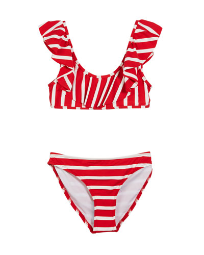 Striped Ruffle Pinafore Two-Piece Swimsuit, Size 4-6  and Matching Items